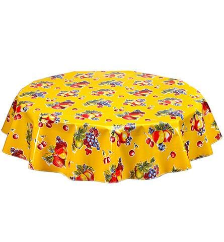Round Freckled Sage Oilcloth Tablecloth in Retro Yellow - You Pick The Size!