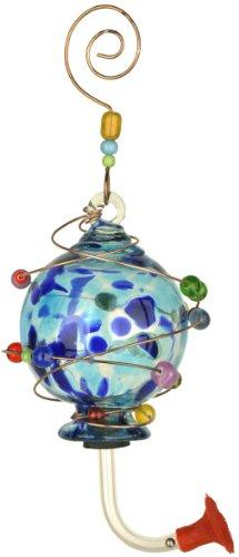 Red Carpet Studios 41191 Blown Glass Hummingbird Feeder, Spotted (Art Glass Hummingbird Feeder)