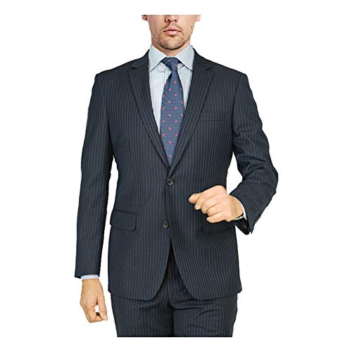 - Adam Baker by Mantoni G87130/1 Men's Portly Fit Single Breasted 100% Wool Two-Piece Solid Suit Set - Navy Pinstripe - 46R