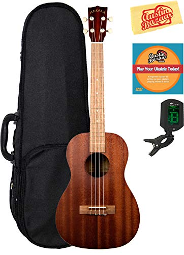 Kala MK-B Makala Baritone Ukulele Bundle with Hard Case, Clip-On Tuner, Austin Bazaar Instructional DVD, and Polishing Cloth