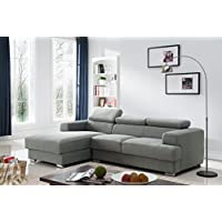 Container Furniture Direct Sandy Collection Contemporary Upholstered Linen Fabric Sectional Sofa with Left-Facing Chaise, Grey