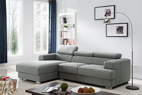 Container Furniture Direct Sandy Collection Contemporary Upholstered Linen Fabric Sectional Sofa with Left-Facing Chaise, Grey Left Chaise Couch
