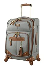 Steve Madden Designer Luggage Collection - Lightweight Softside Expandable Suitcase for Men & Women - Durable 20 Inch Carry On Bag with 4-Rolling Spinner Wheels (Harlo Gray)