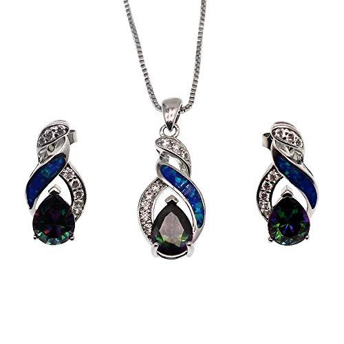Hermosa Jewelry Sets Australian Opal Blue Sapphire Necklace Earrings Christmas Gifts (JS9) ()