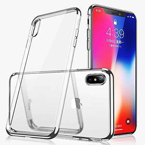 iPhone Xr Case,Electroplated Frame Clear Cell Phone Case,Ultra Slim TPU Gel Case for iPhone Xr(Silver)