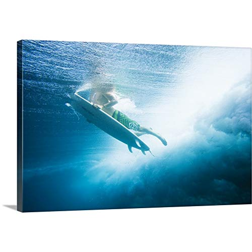 GREATBIGCANVAS Gallery-Wrapped Canvas Entitled Indonesia, Bali, Surfer Dives Under Wave by MakenaStock Media 60