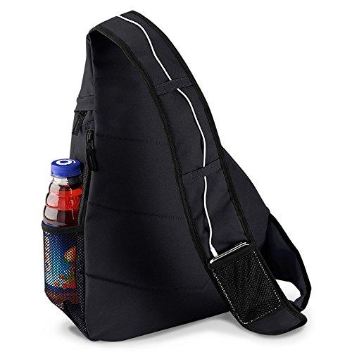 Moderner Messenger Dreieck-Rucksack, Umhängetasche, Body Bag, Crossover Sling Bag Farbe: Schwarz - Mit Veri ® Logo