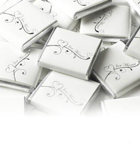 250g 50St Schokoladentafeln EinsSein® Verliebt weiß-silber Gastgeschenke Hochzeit Hochzeitsmandeln
