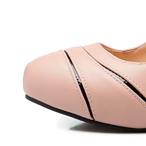 Amoonyfashion Bicolori Donna Da scarpe Su Pompe Elaborazione Estraibili Chiusa Della Punta Rotonda Rosa Tacchi nxwaEt6Eq