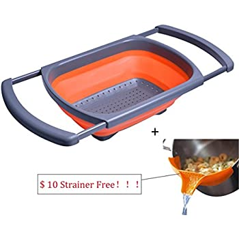 Superior Over The Sink Collapsible Colander   Silicone Strainer With Extendable  Handles   Free Bonus Kitchen Strainer