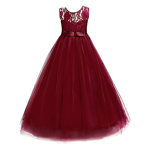 IBTOM CASTLE Big Girl Vintage Lace Junior Bridesmaid Dress Dance Ball Christening Pageant Maxi Gown Floor Long for Party Wedding Maroon Burgundy 4-5 Y ()