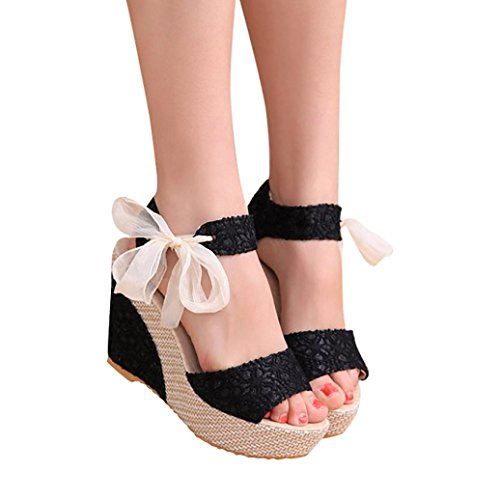 Han Shi Women Fashion Sandals Summer Casual Lace-Up Slope High Heel Loafers Shoes (Black, 7)