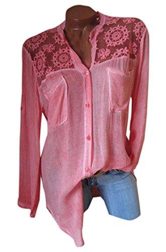 Tops Dentelle Casual Automne pissure Shirts Printemps JackenLOVE Femmes Chemisiers T Hauts Chemises Manches Shirts et Rouge Rose Blouse Fashion Longues Longue 0Zq14