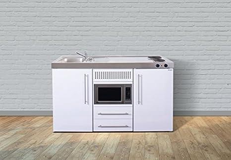 Miniküche Kühlschrank Links : Stengel miniküche metallküche singleküche küche cm weiss becken