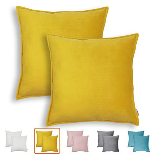 NordECO HOME Pack of 2 Throw Pillow Covers Cases - Square Decorative Cushion Covers for Sofa Couch Bed Home Decoration, 18 x 18 (Yellow, 2 Pieces, 18