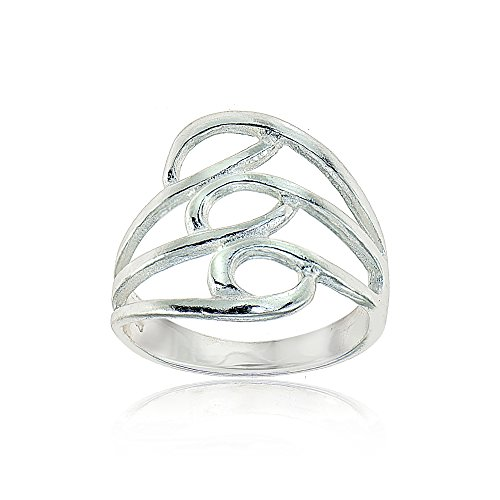 Sterling Silver Polished Triple Split Shank Wide Fashion Ring, Size 7 - Wide Split Shank Ring