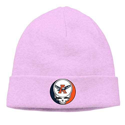 (Lucy Curme Winter Newsboy Cable Knitted Visor Beanie Hat with Grateful Dead Steal Your Face)