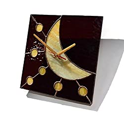Moon and Stars Wall Clock Sqare, Unique Stained Glass Home Accent