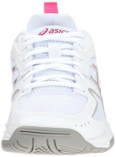 Asics Gel zapato de aclamación de formación de la mujer White-Charcoal-Pink