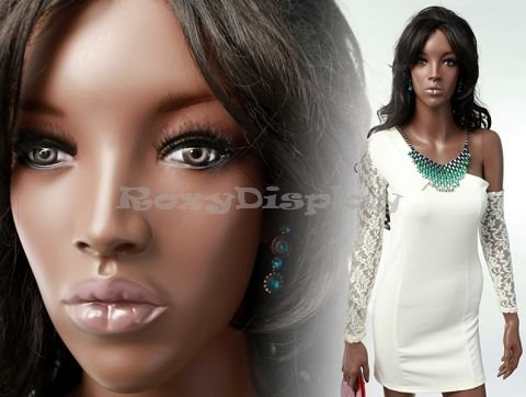 (MZ-MYA2) Realistic Female Blown Color Fiberglass Mannequin, African, Beautiful ()