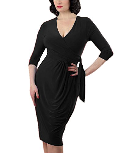 Tempt me Women Vintage V Neck 3/4 Sleeve Bodycon Ruched Faux Wrap Dress Black - Website Fair Fashion