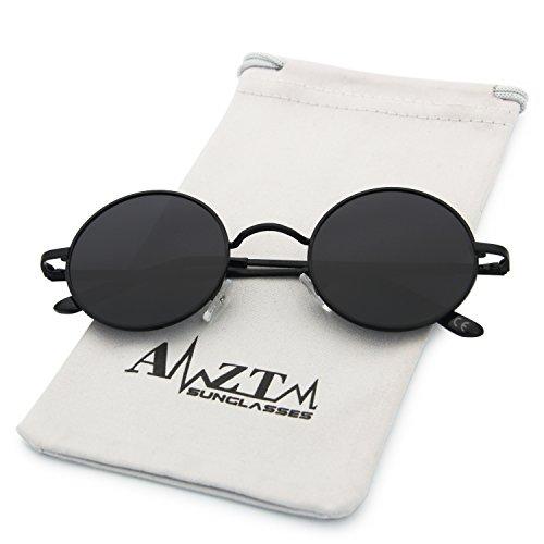 Clásico Lente Gris Redondo Sol De AMZTM Gafas Negro Marco Polarizadas Moda Pvx6gd