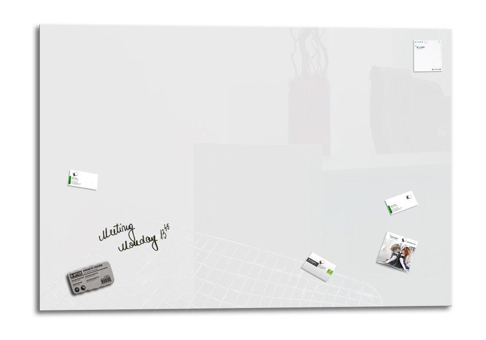 1 pennarello +1 cancellino SmartGlassBoard /® Lavagna magnetica in vetro // Lavagnetta 4 magneti colore: Bianco 130 x 90 cm