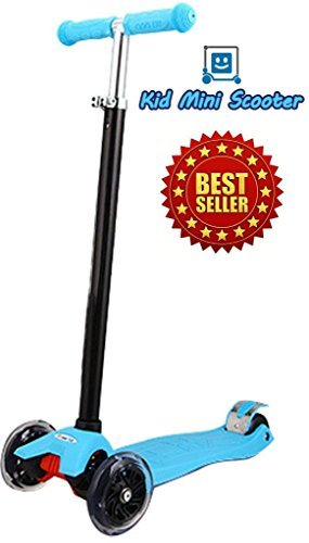 (Scooter for Kids with 3 Smooth LED Light Up Wheels and Adjustable Height, Mini Kick Scooter for Girls Boys Toddlers Children from 2 to 14 Year-Old, Max Weight 143 pounds (65kg))