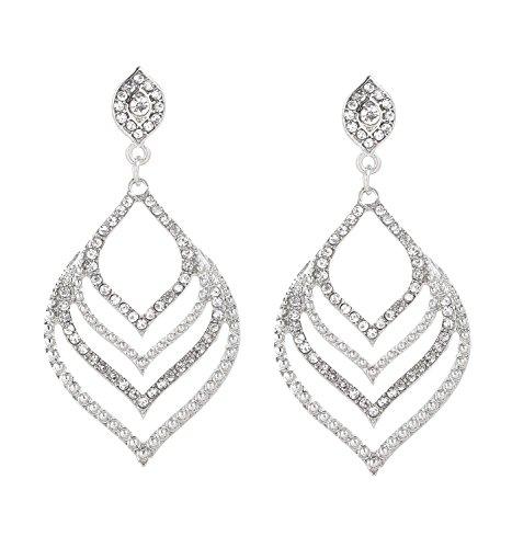 JYJ Diamond Dangle Earrings Crystal Drop Earrings Leaf Shape Gemstone Earrings for Wedding Party
