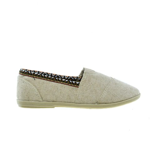 Slip On Casual Slip On Sneaker Di Lino Donna Scarpe Piatte Beige Lin