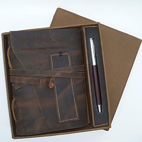 Handmade Vintage Leather Bound Journal Gift Set by My Write Supplies - Lined Paper Wrap Around Cover and Tie - Pen and Leather Bookmark - Lined Vintage Wrap