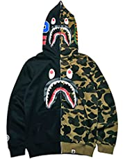 PADOLA BAPE Shark 3D-print hoodie met rits voor heren, patchwork camouflage hiphop-sweatshirts