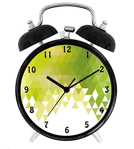 22yiihannz Triangular Abstract Geometrical Mosaic Poly Effect,Battery Operated Quartz Ring Alarm Clock for Home,Office,Bedroom,Yellow Green Lime Green White_4inch