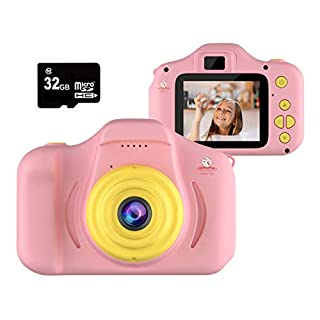 EMAAS Kids Digital Camera - HD Mini Camera Toy Recorder for 3-11 Years Old Kids - Shockproof -1080P Toddler Video Recorder and Photography - Boys & Girls– Includes 32GB SD Card (Pink)