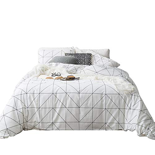 SUSYBAO 3 Piece Duvet Cover Set 100% Natural Cotton White King Size Plaid Checkered Bedding Set with Zipper Ties 1 Black Chevron Duvet Cover 2 Pillowcases Luxury Quality Soft Comfortable Lightweight (Duvet Stripe Chevron)
