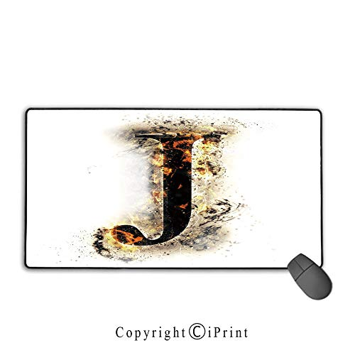 (Extended Mousepad with Durable Stitched Edges,Letter J,Majuscule J Burning Effects Retro Alphabet English Gothic Influence Image Decorative,Tan Black Yellow,Ideal for Desk Cover, Computer Keyboard, PC)
