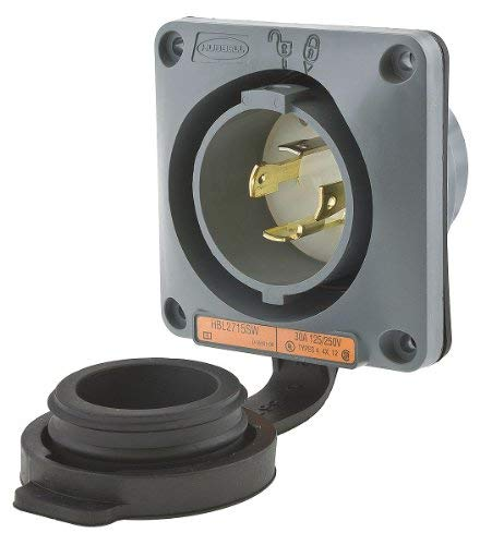 30A Watertight Flanged Locking Inlet 3P 4W 125/250VAC by Hubbell Wiring Device-Kellems (Image #1)