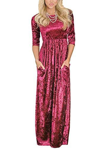Women's Pocket Velvet High Waisted 3/4 Sleeve Pleated