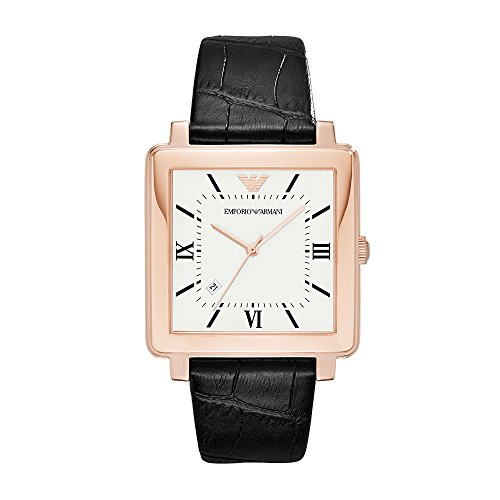 Emporio Armani Men's 'Dress Quartz Stainless Steel and Leather Casual Watch, Color:Black (Model: AR11075)