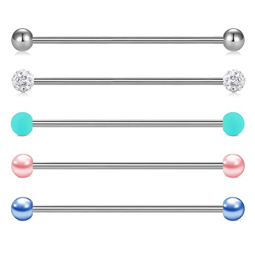 AVYRING 16G Industrial Barbells Stainless Steel Ear Cartilage Piercing Barbell Bars Jewelry 32/35/38mm