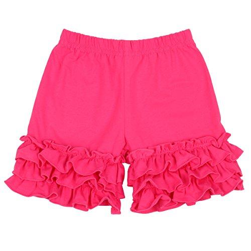 Slowera Baby Girls Cotton Ruffles Shorts Pants (Hot Pink, 3-6 Months)