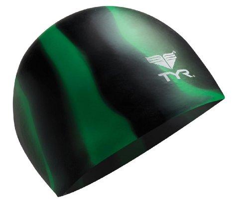 TYR Multi Silicone Cap, Black/Green