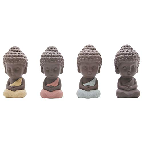 Ceramic Head Buddha Statue (UOON Cute Larger Buddha Statue Monk Figurine,4pcs)