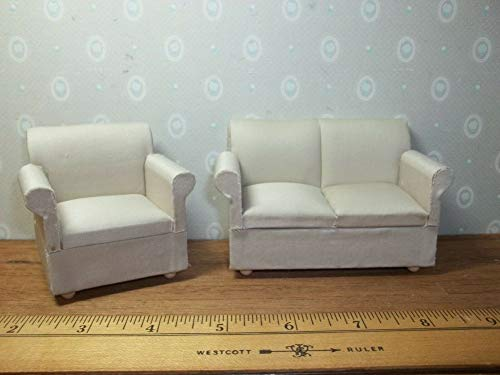 SMALL UPHOLSTERED CHAIR AND SOFA/COUCH - DOLL HOUSE MINIATURE