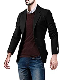 uxcell® Men Notched Lapel Three Pockets Two Buttons Closed Slim Fit Blazer