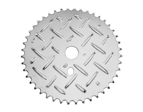Alta Bicycle Steel Plate Sprocket/Chainring 44T, In Chrome.