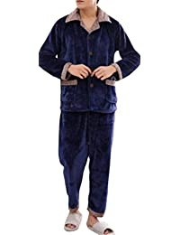 Generic Men's Warm Plus Size Flannel Fleece Lounge Top and Bottom Pajama Set