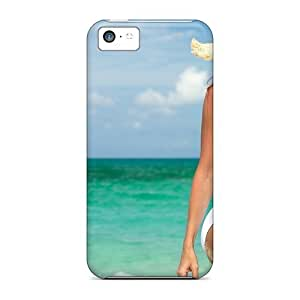 Flexible PC Back Case Cover For Iphone 5c - Girl Beach Sun Hat