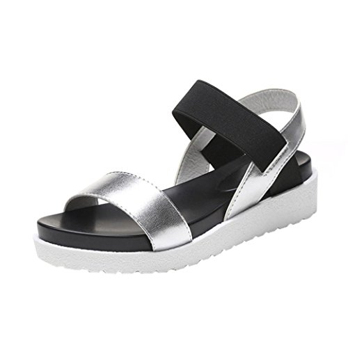 bescita Neue Fashion Sandalen Frauen IM Alter von Leder Flache Sandalen Damenschuhe Outdoor Damenschuhe (36, Silber)