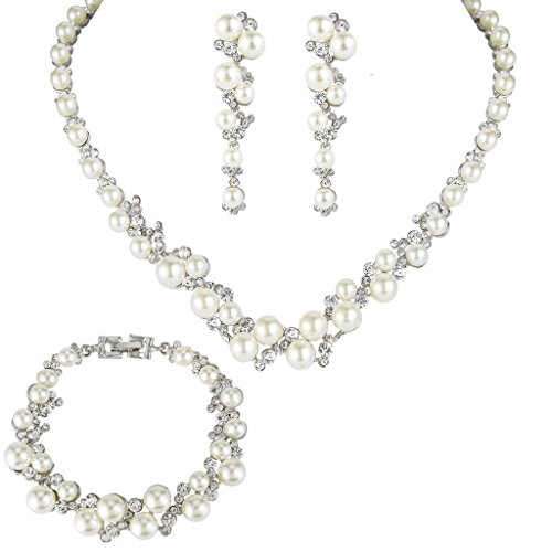 EVER FAITH Simulated Pearl Crystal Bridal Necklace Earrings Bracelet Set (Bridal Jewelry Set)